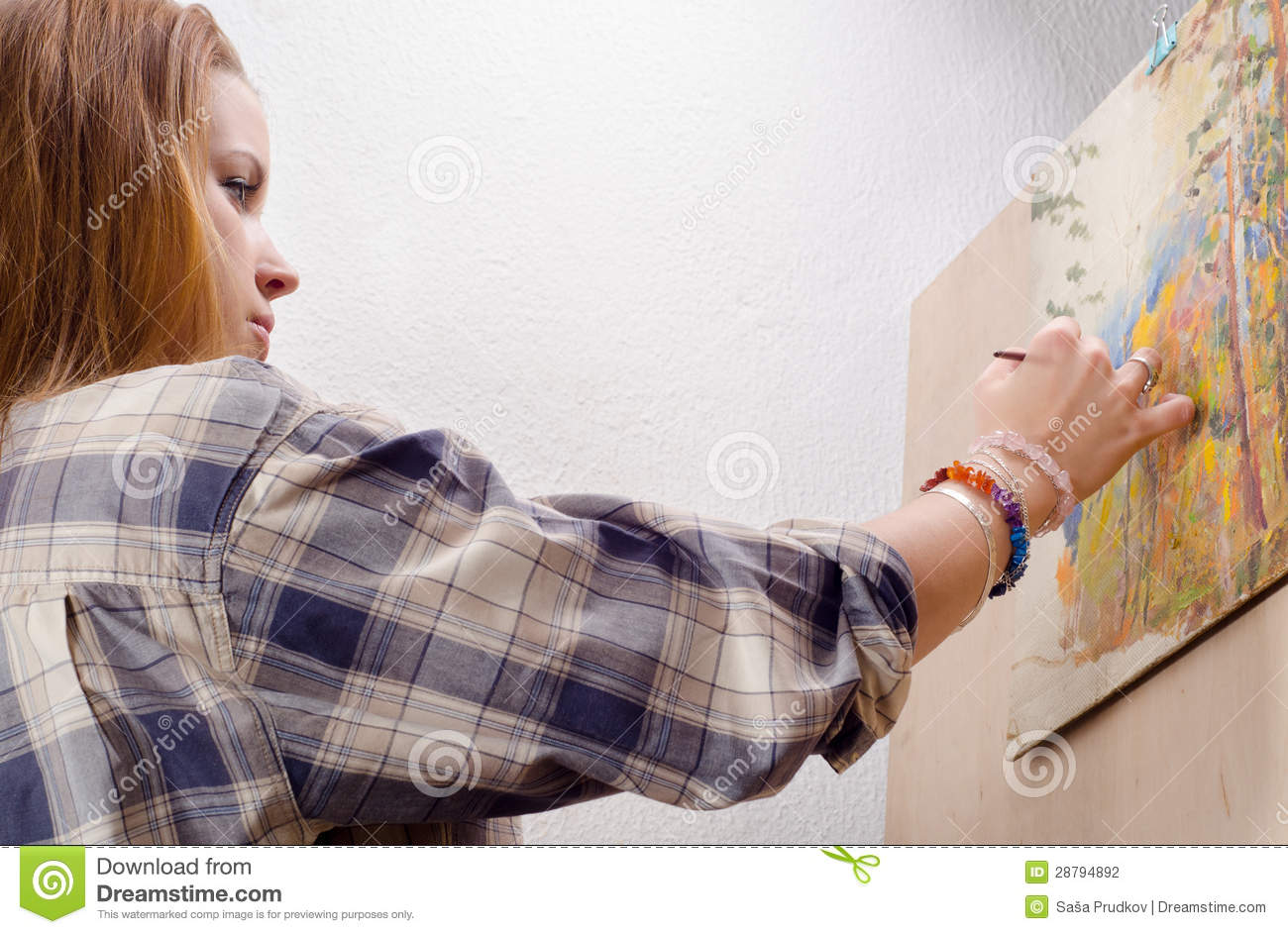Young Female Painter Painting Landscape Stock Photography - Image ...