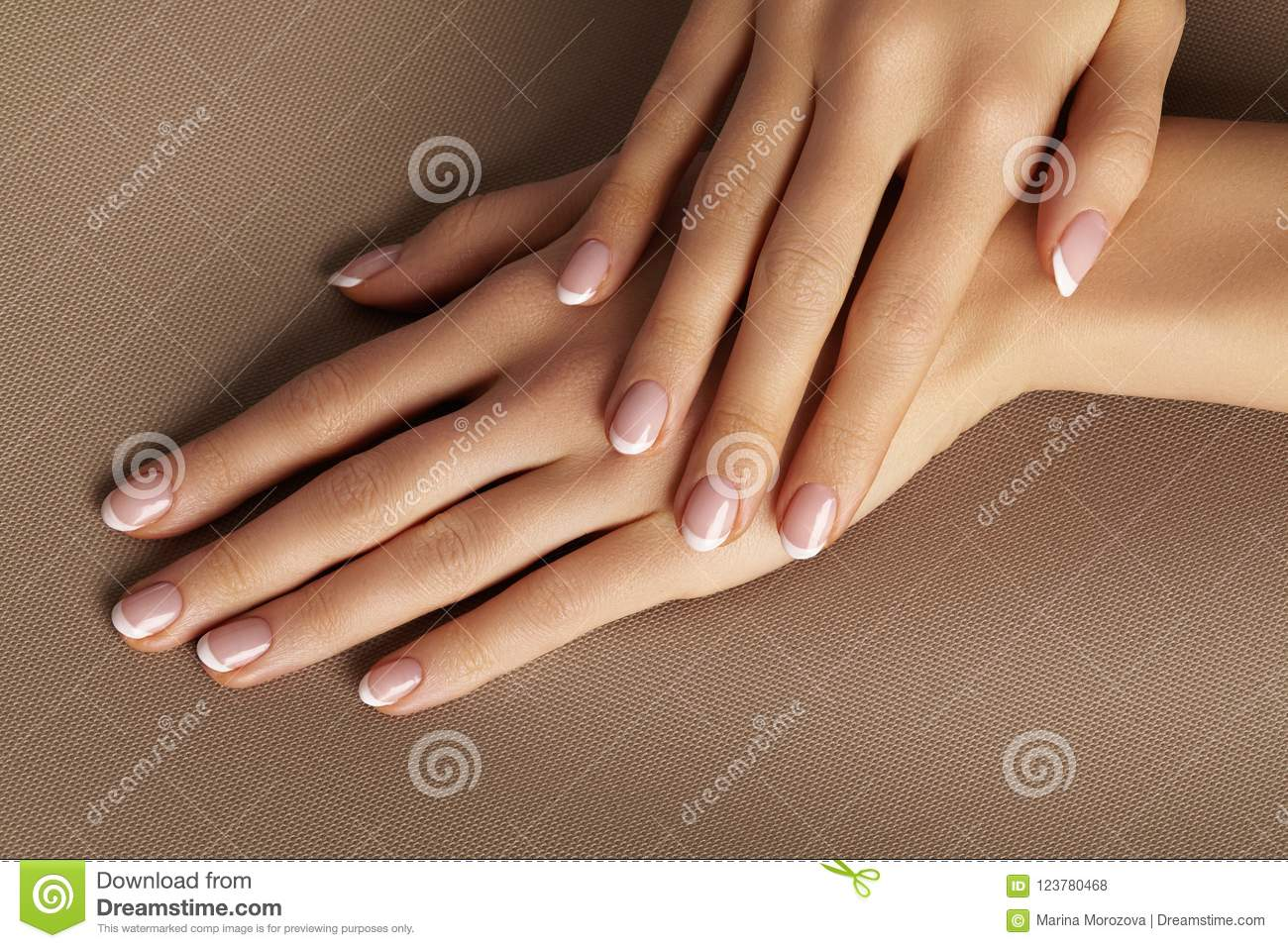 Young Female Palm Beautiful Glamour Manicure French Style Nail