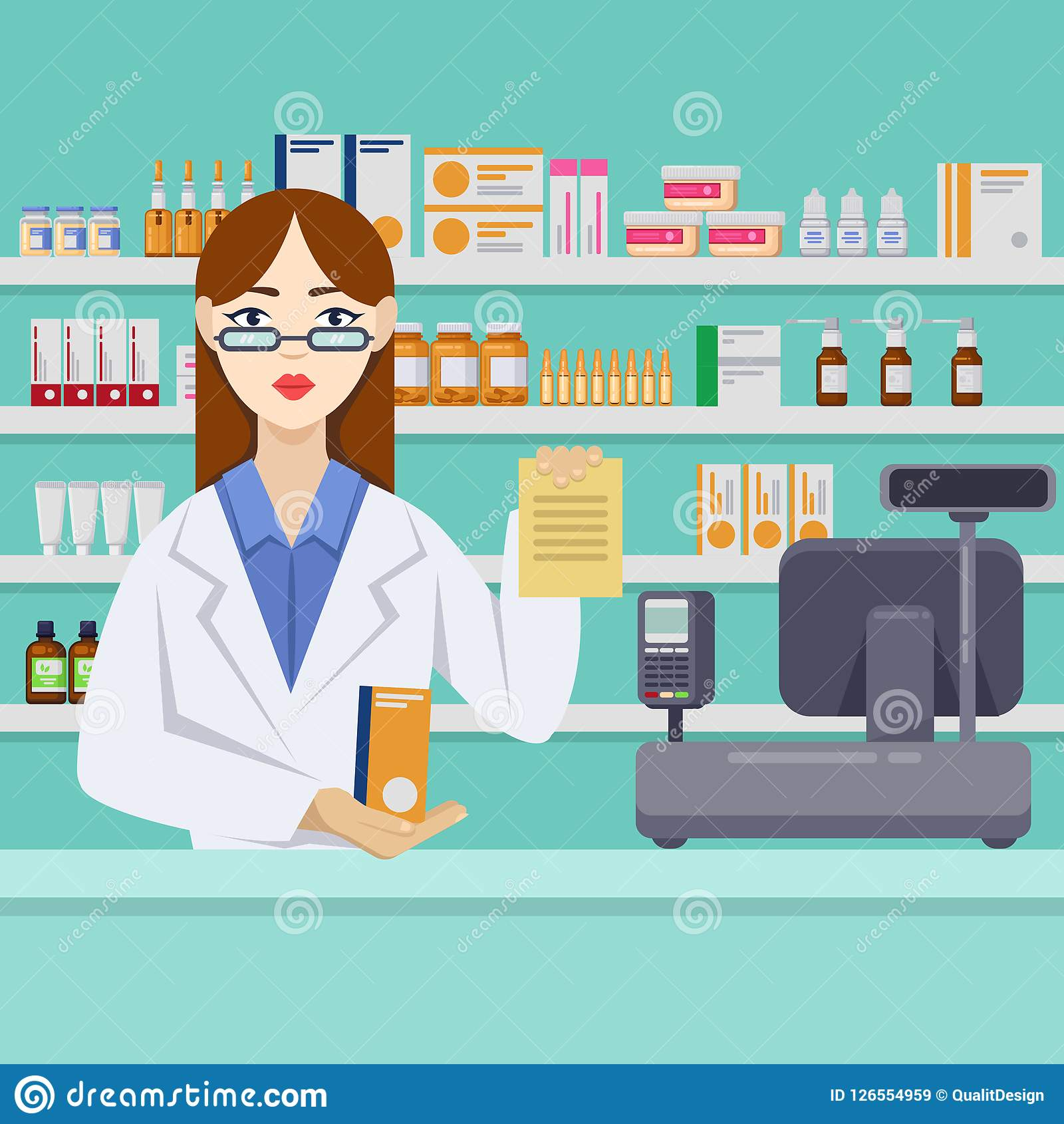 Young female pharmacist with pills behind the counter. Pharmacy or drugstore interior. Vector flat style illustration