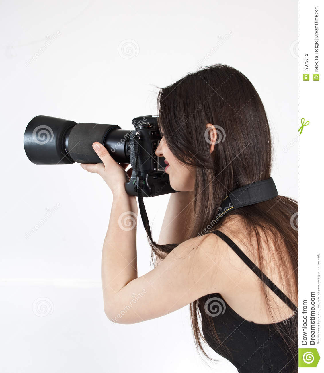 A young female photographer