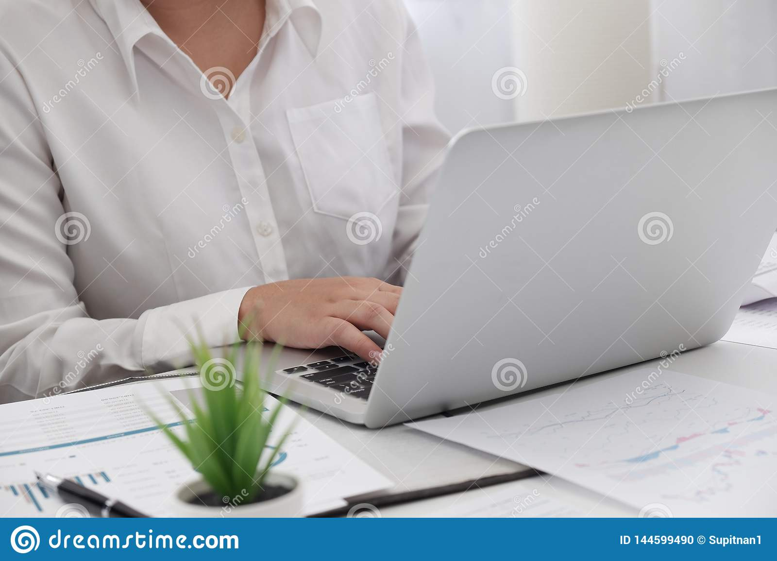 Young female professional working  in bright  office