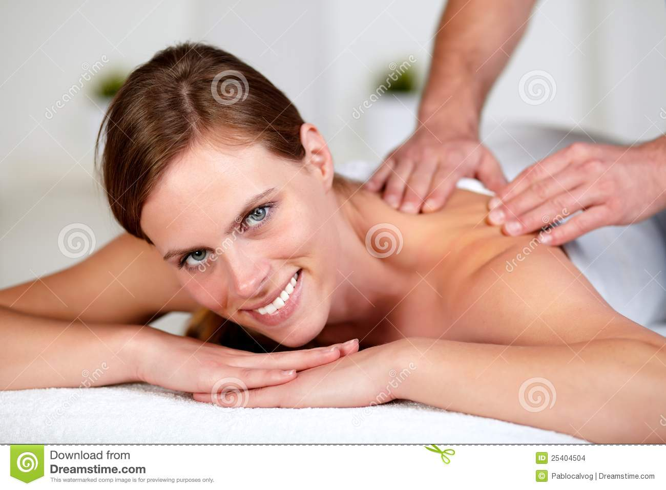 Young Female Receiving A Relaxed Massage At A Spa Stock ...