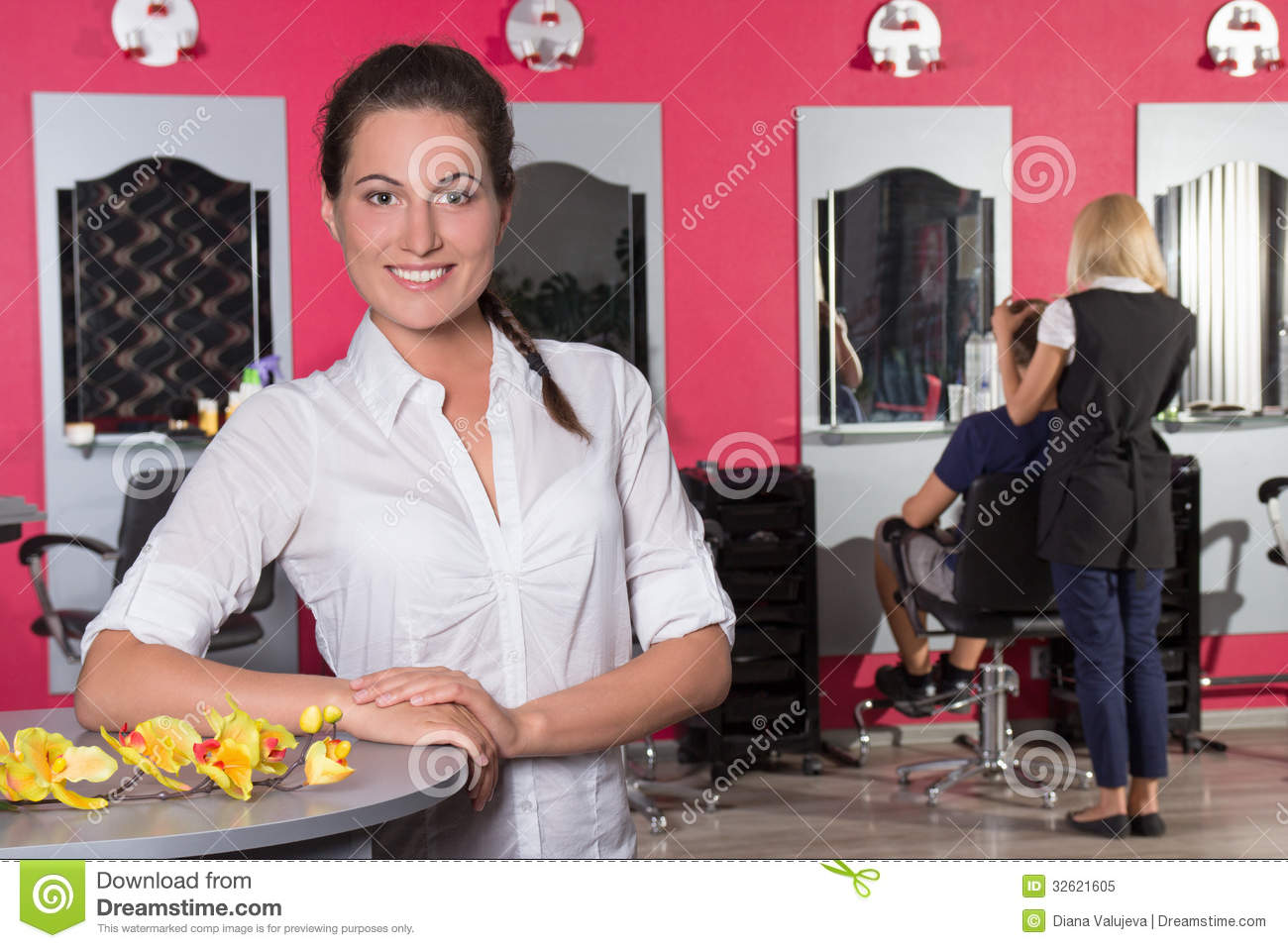 young female receptionist of beauty salon royalty stock photo young female receptionist of beauty salon