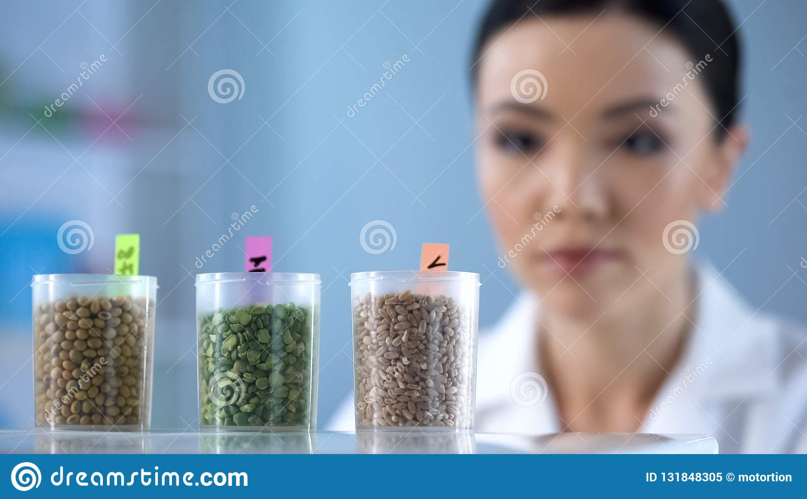 Young Female Scientist Examining Bottles With Seeds, Nutrition