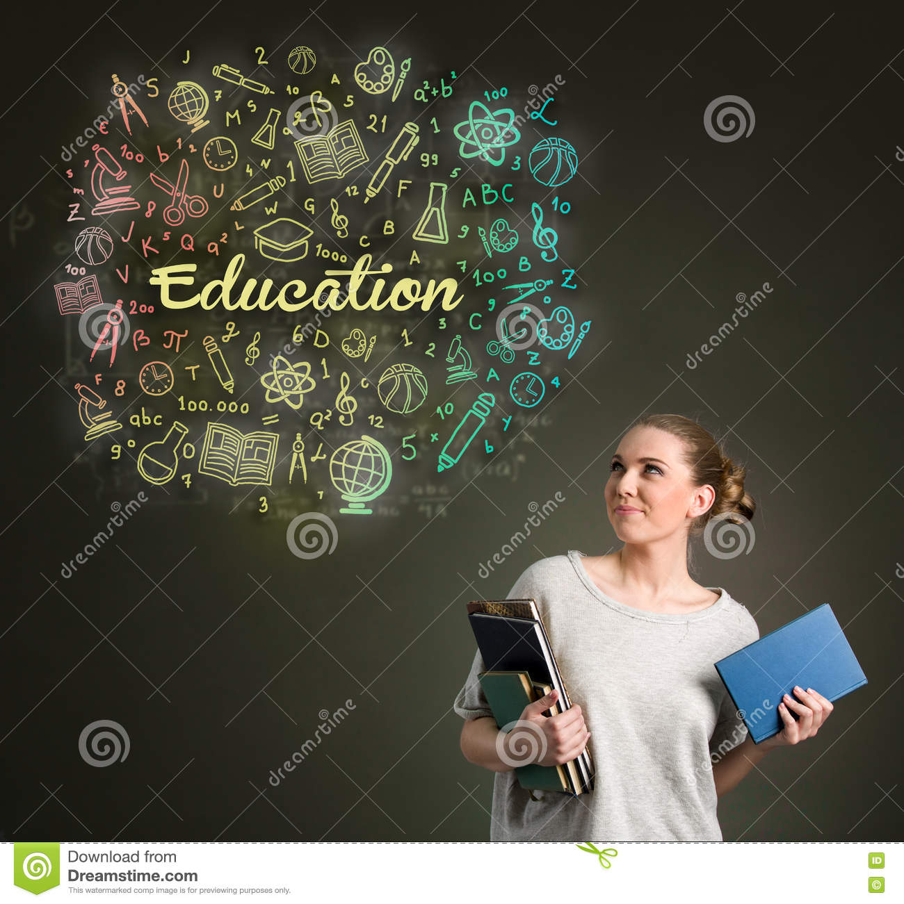 Young female student looking at education clouds