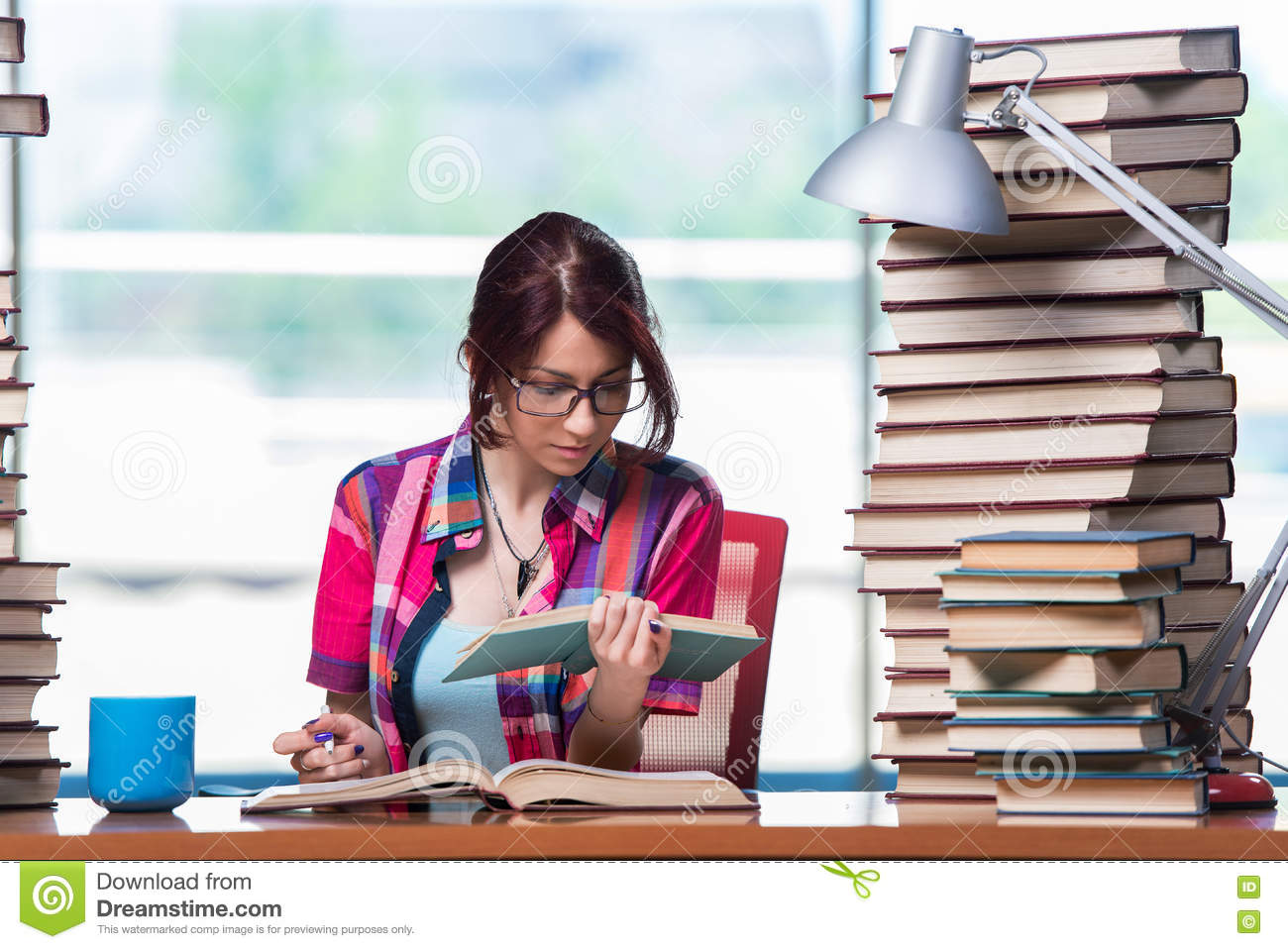 The young female student preparing for exams
