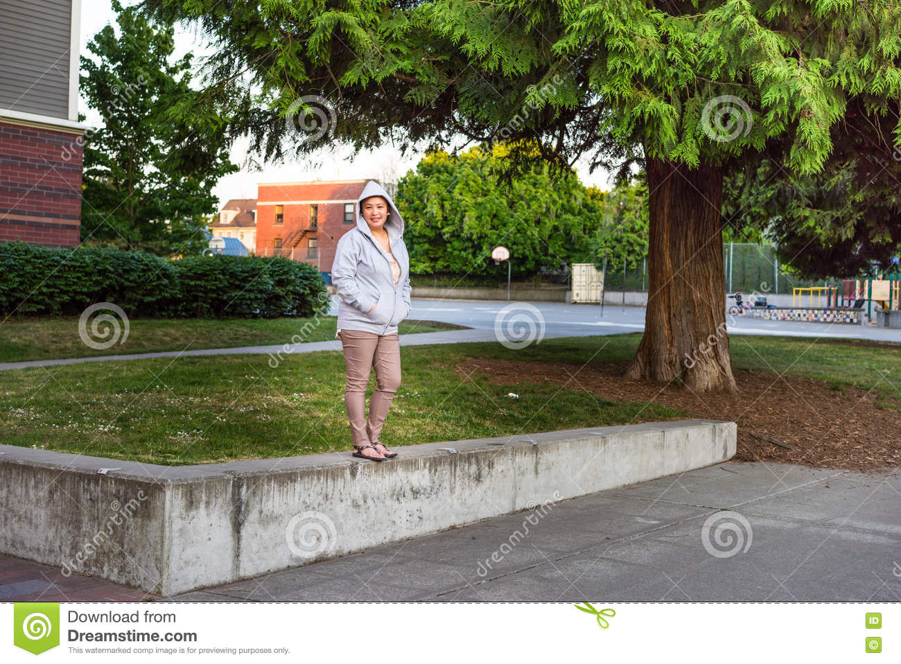 Young female student on school grounds