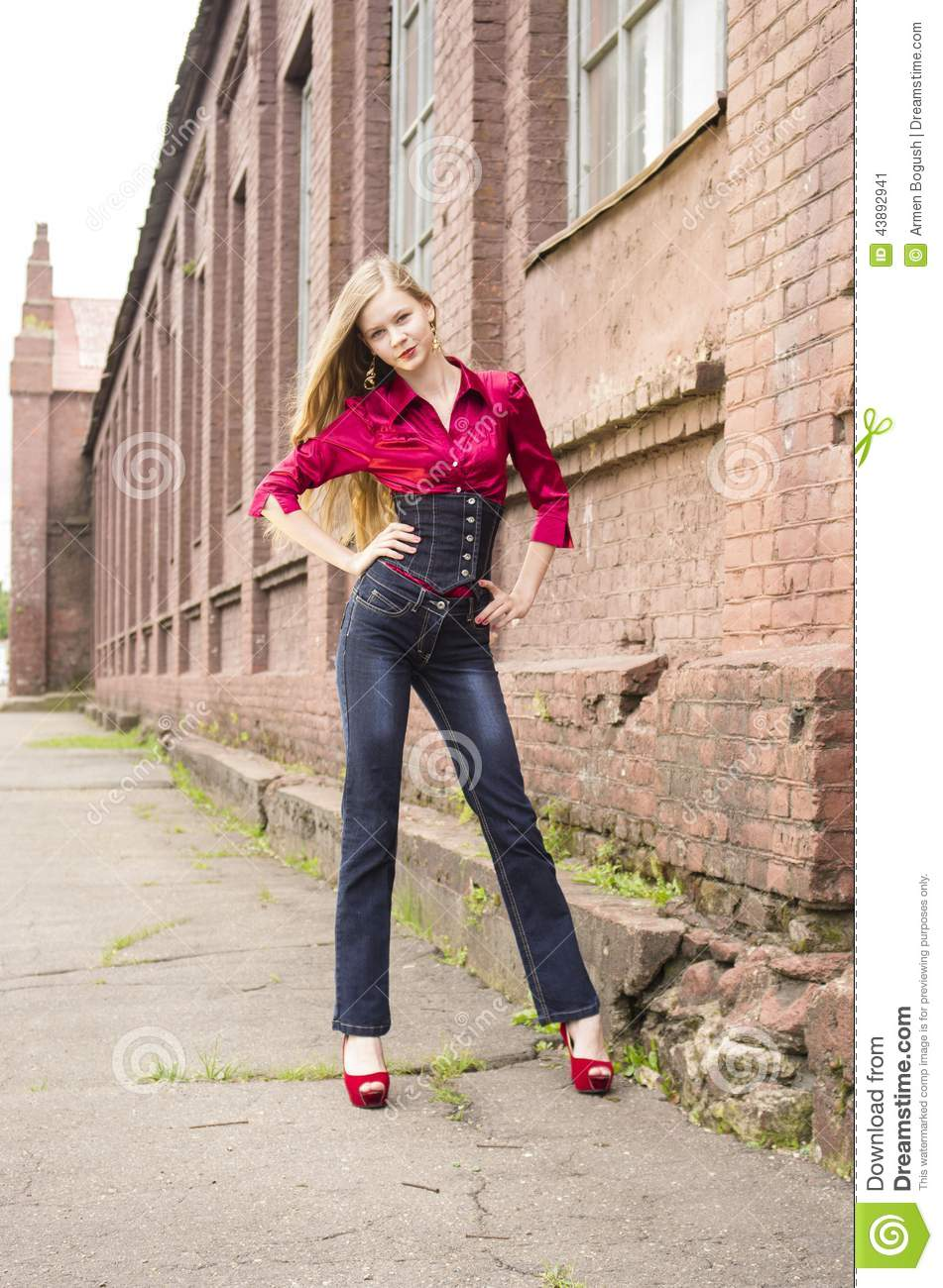 Woman in a Barn stock photo. Image of standing, woods