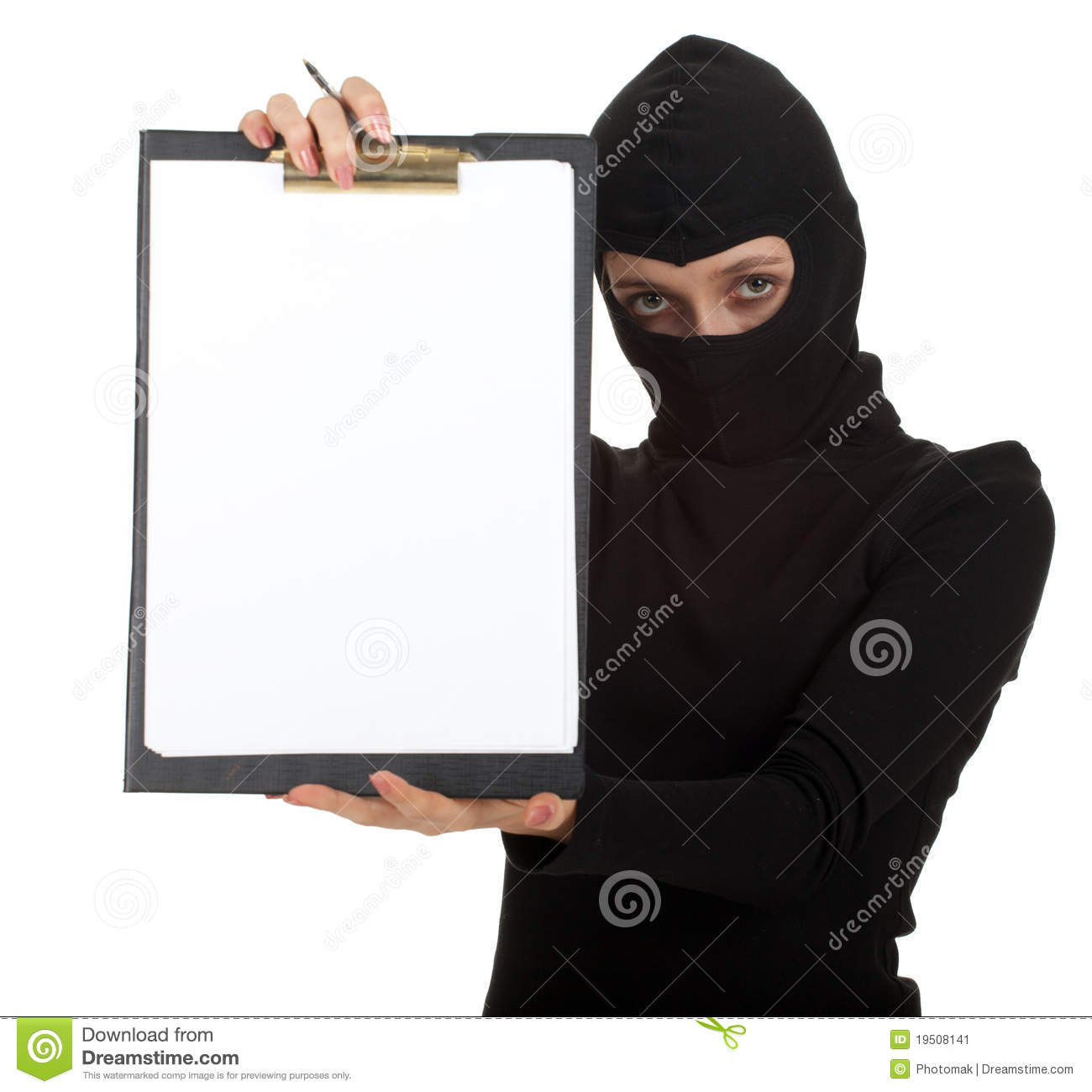 Young Female Thief Keeping Blank Clipboard Stock Image