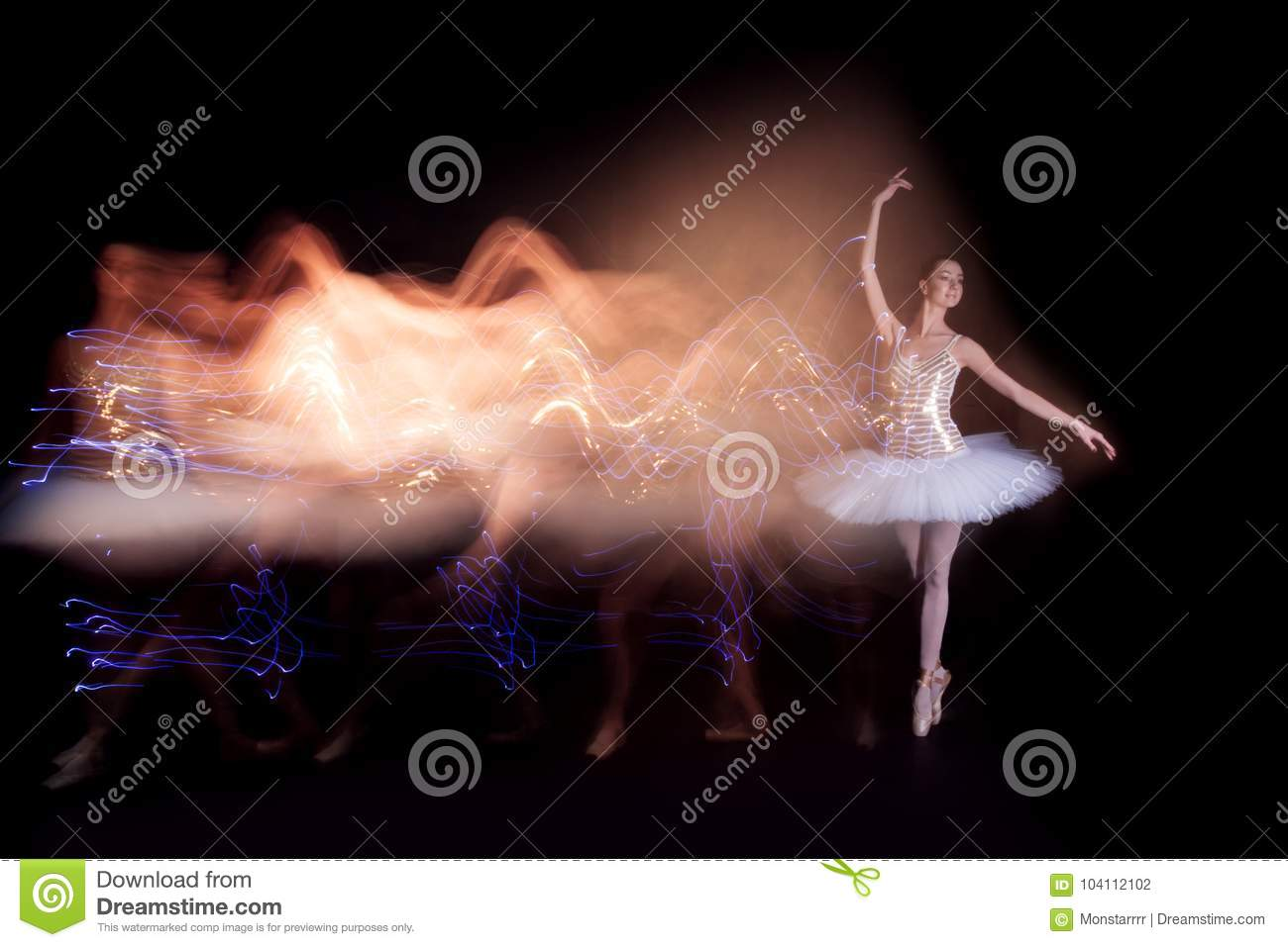 Ballerina dancer on stage with silhouette trail