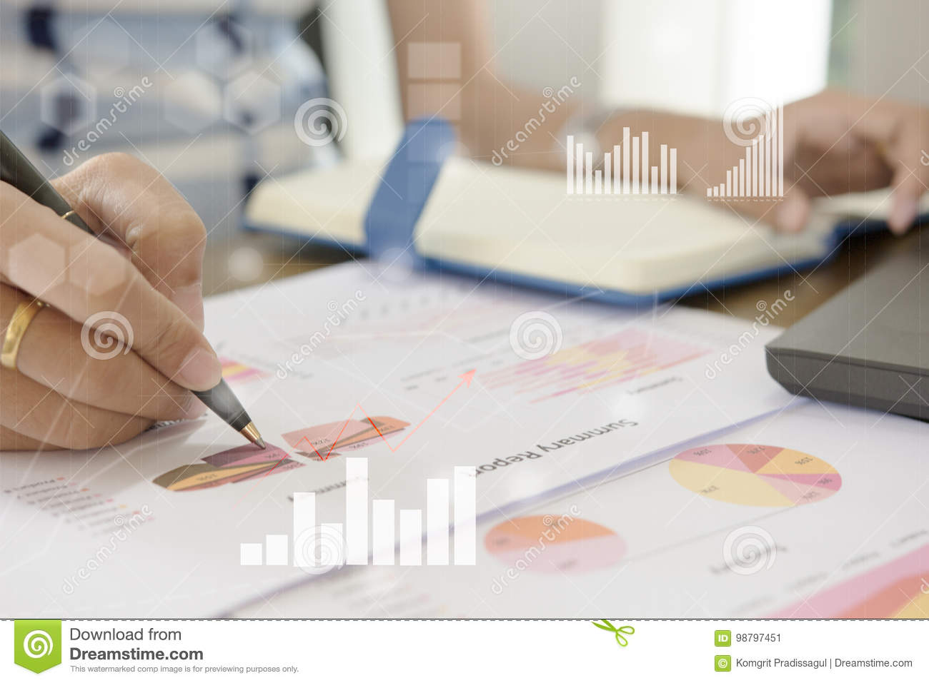 Young finance market analyst working at office at white table.Businessman analyze document and the calculator in hands