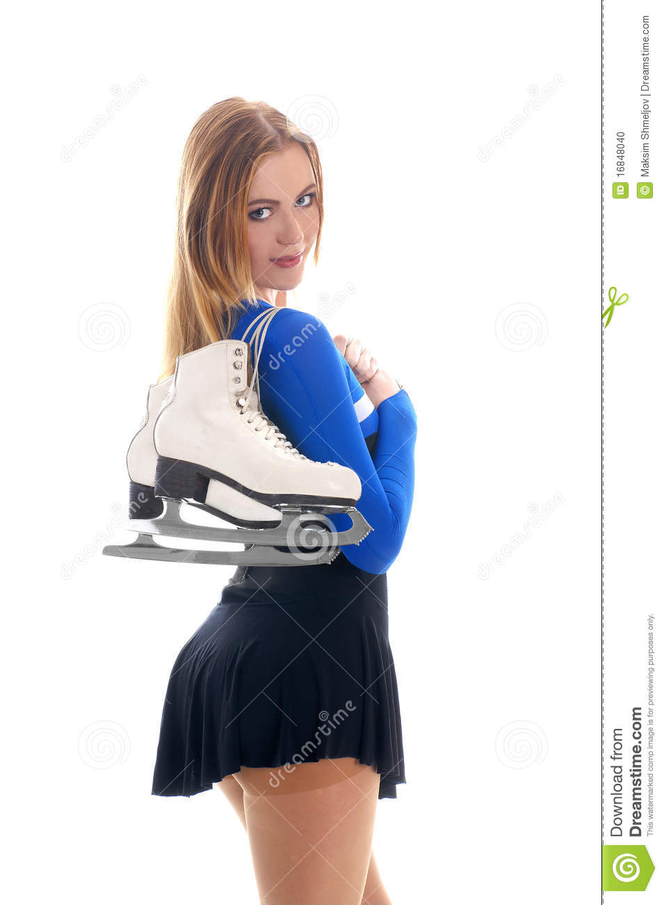 A Young And Fit Girl With Winter Skates Stock Photo ...