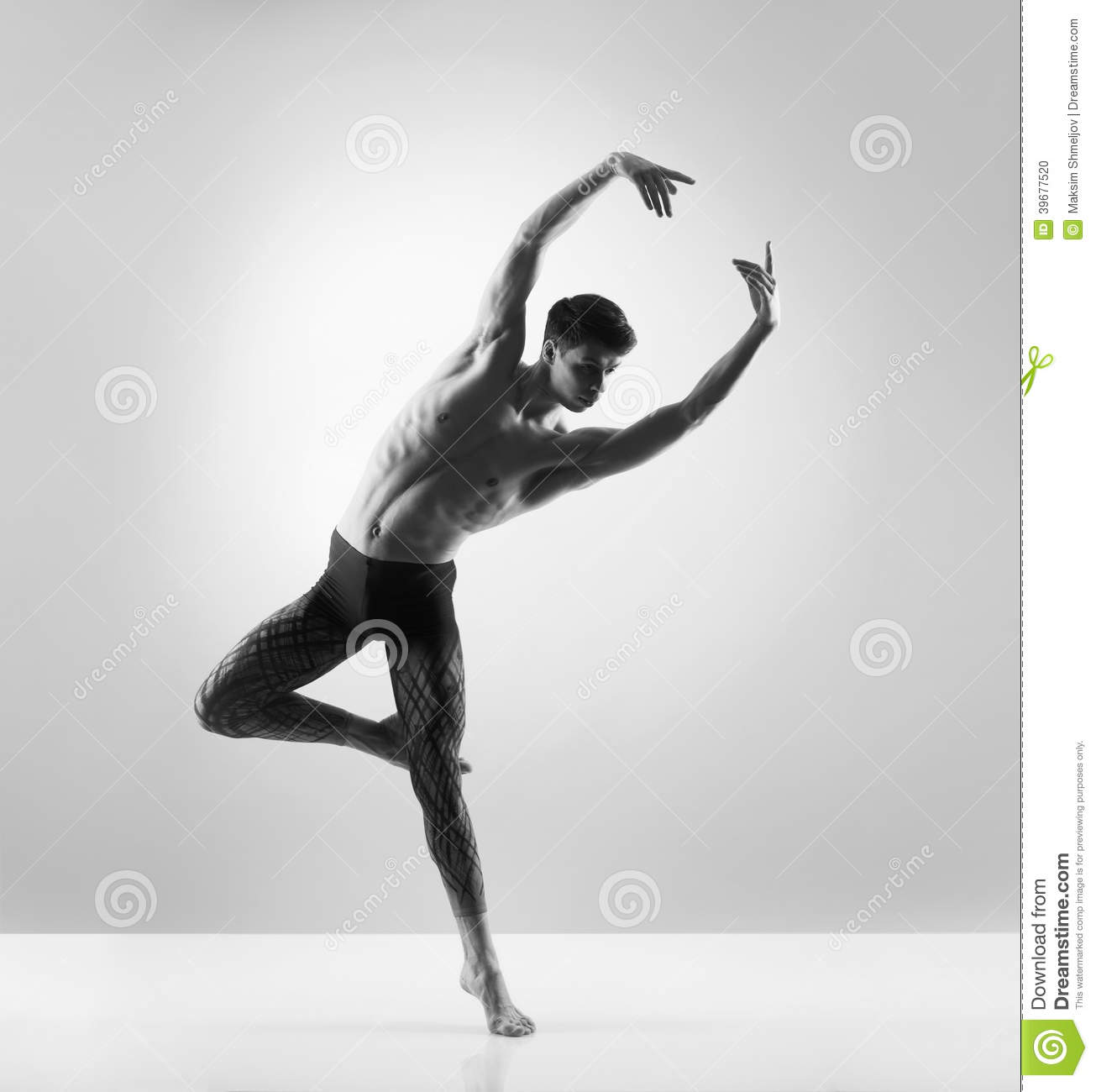 ... , handsome, sporty and athletic ballet dance. Black and white image