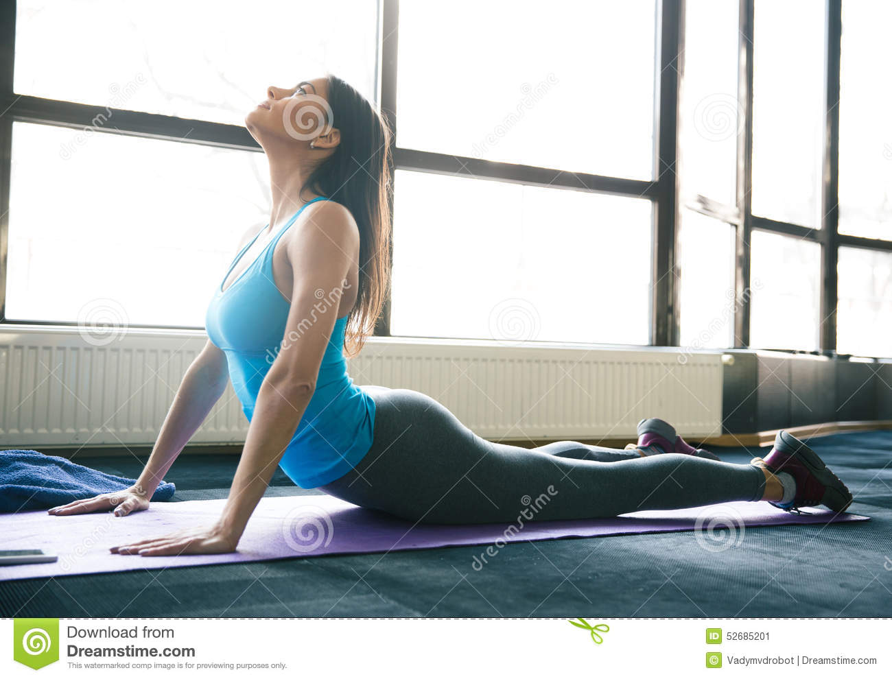Young Fit Woman Stretching On Yoga Mat Stock Image Image