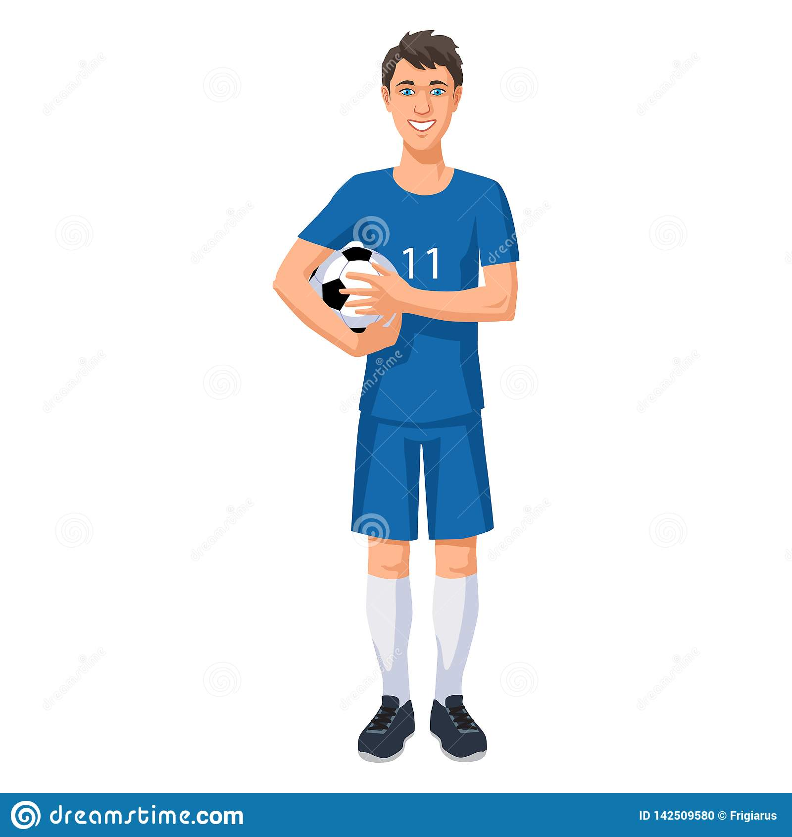 Young football player with a ball
