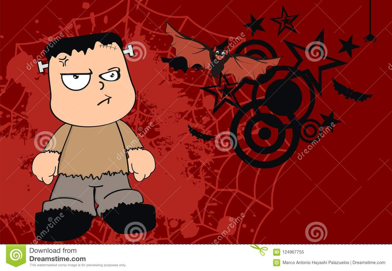 Young Angry Frankenstein Cartoon Halloween Background Stock