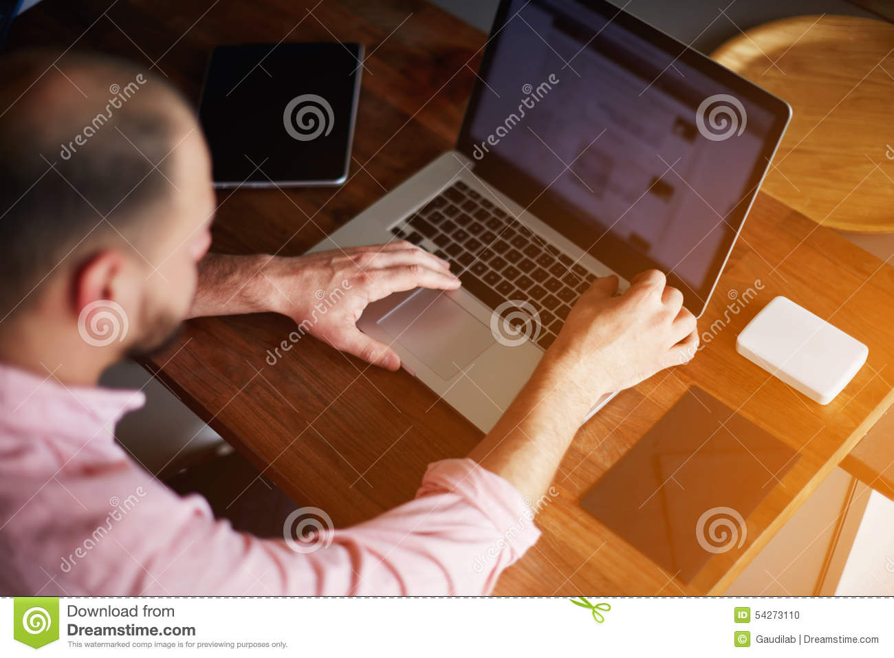 Young Freelancer Working With Laptop In Home Interior Stock Photography