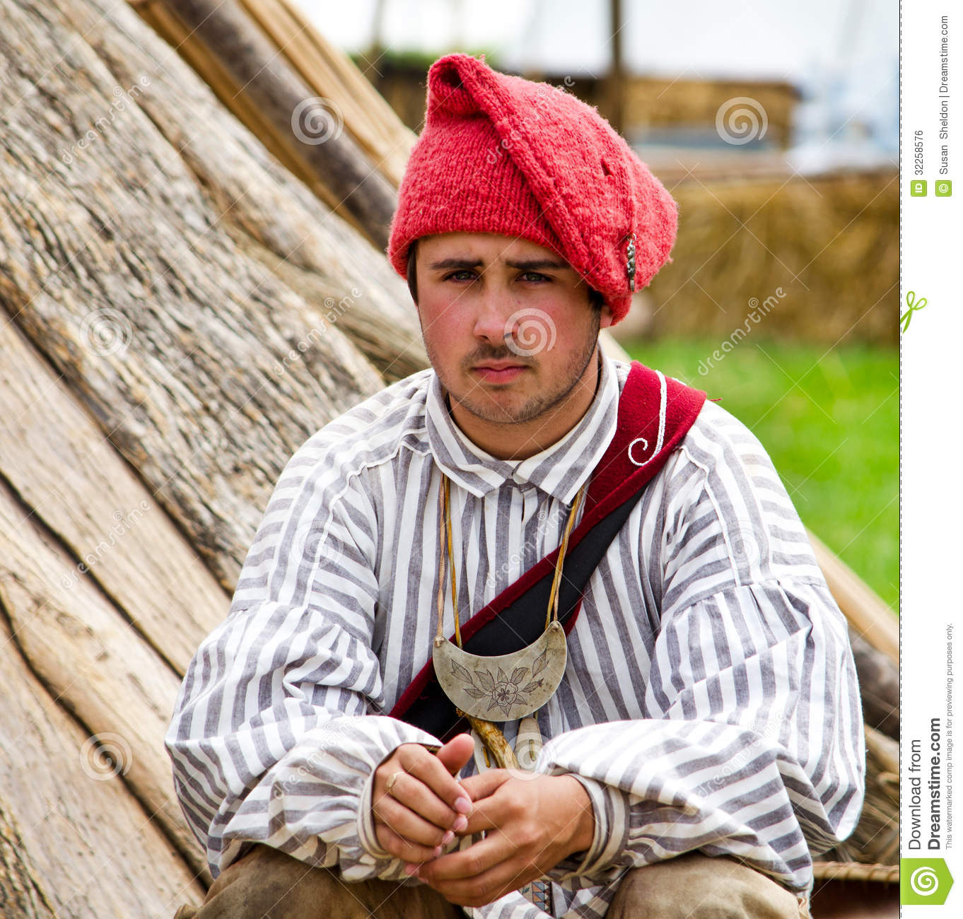 92a91d7d4130f Portrait of a young A man dressed in 1700 era clothes at the feast of the  Strawberry moon festival in Grand Haven Michigan. reenactors dress up to  recreate ...