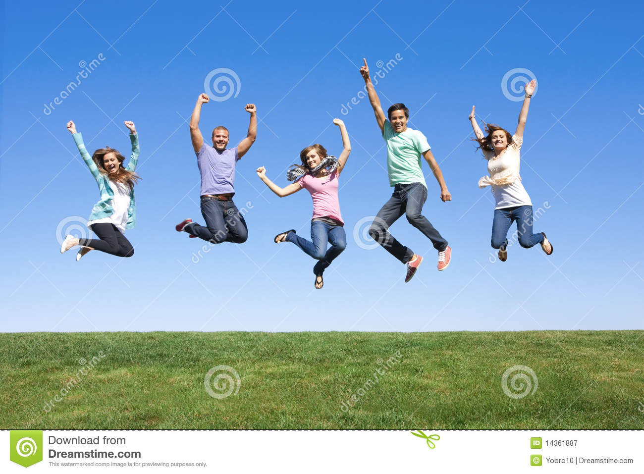 Young Friends Jumping and Having Fun