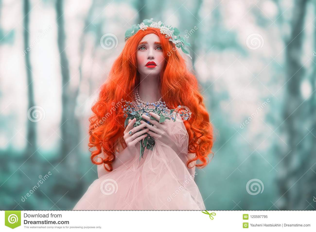 Young frightened woman looks like a doll in mystery world with very long hair in pink dress on blue background. Beautiful girl wit