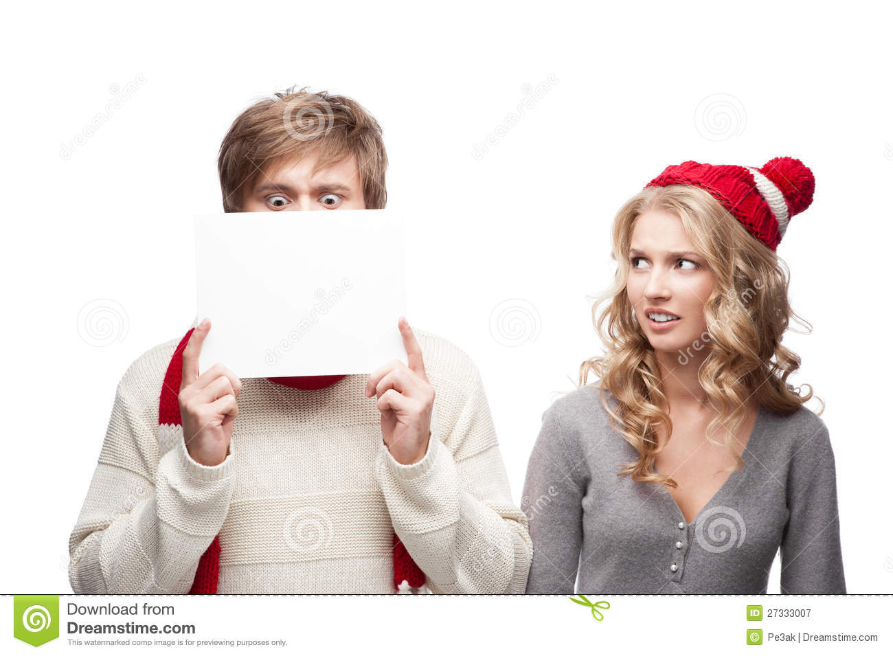 Download Young Funny Christmas Couple Holding Sign Stock Image