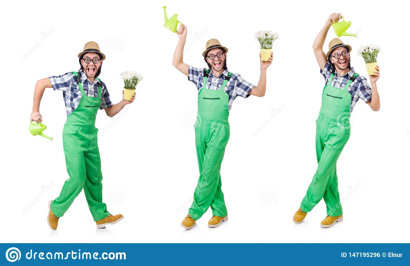The young funny gardener with tulips and watering can isolated oin white