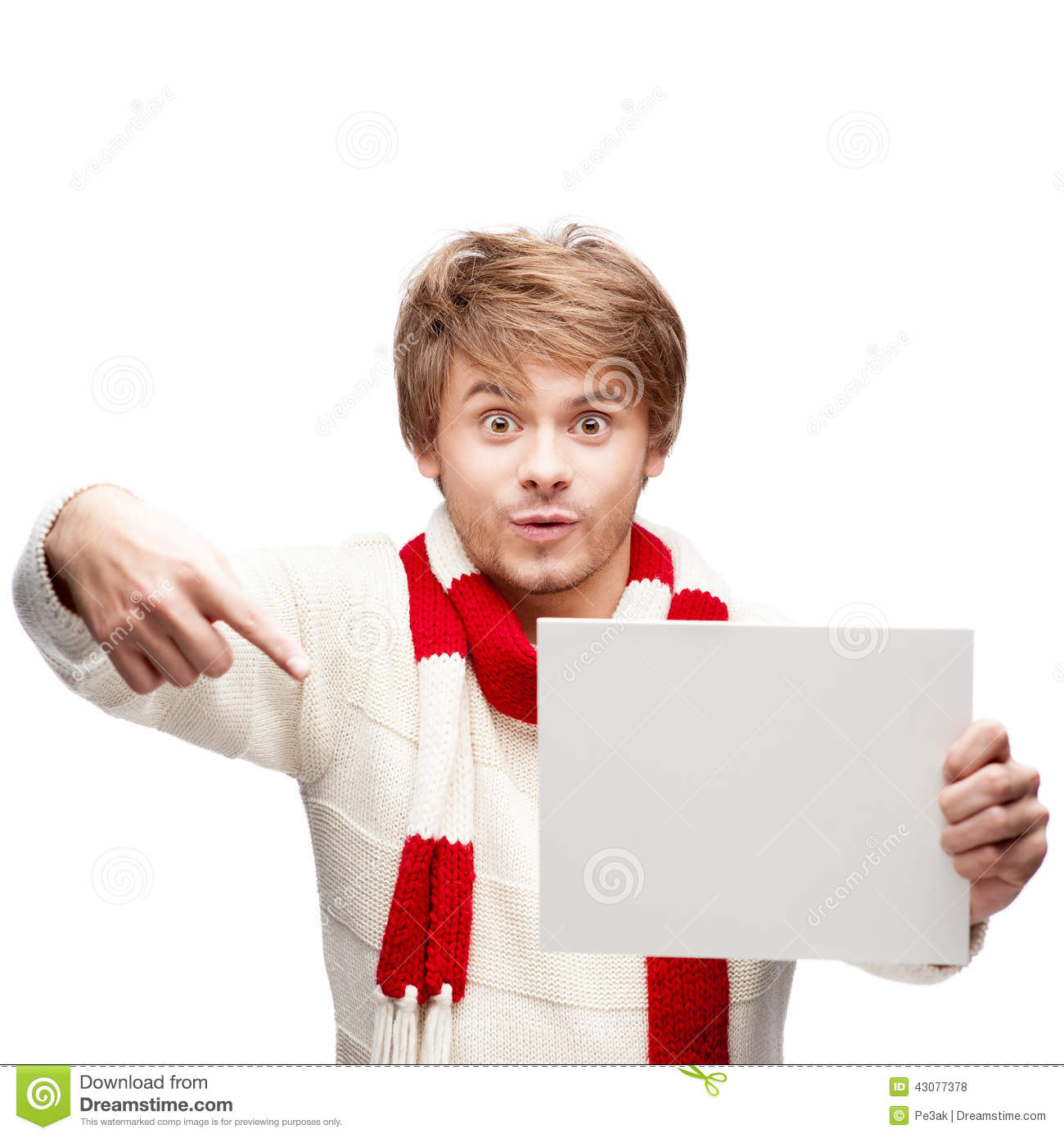 Young Funny Man Pointing At Sign Stock Photography ...