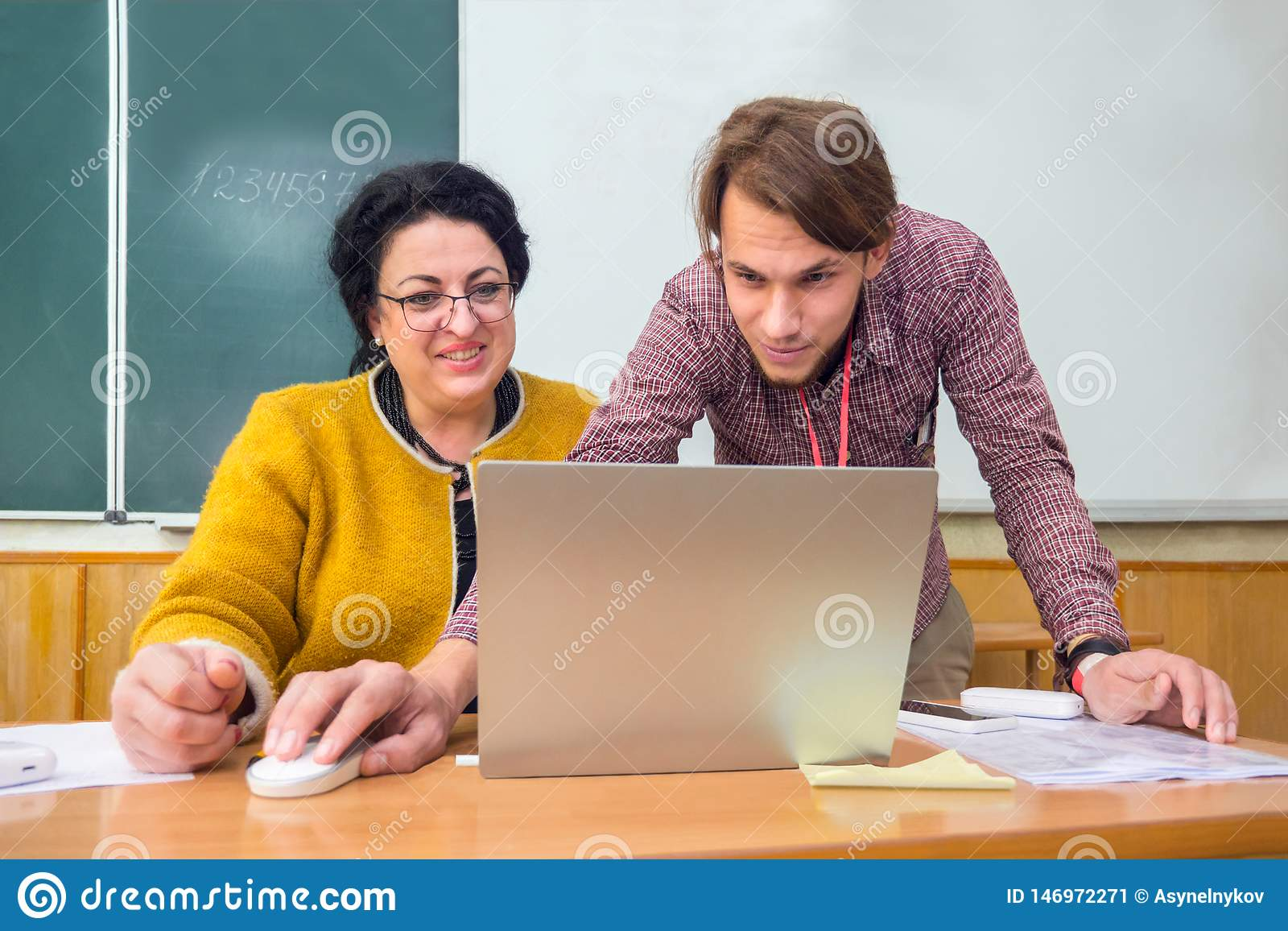 Young generation instruct teachers, elder people. Multi generation business forum. Education concept. New generation