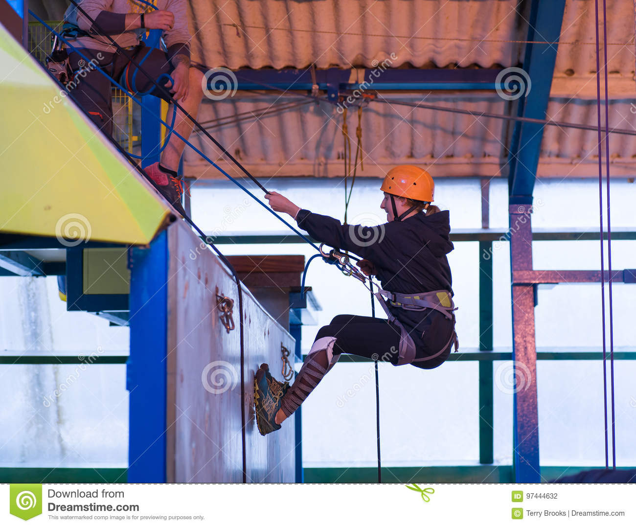 Young girl Abseiling