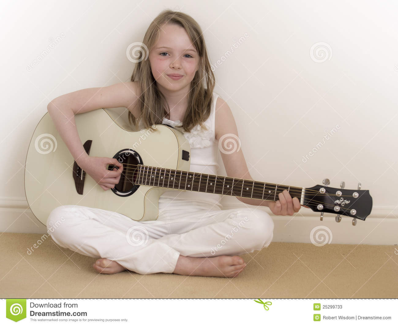 young girl on a acoustic guitar 2 stock photos image 25299733. Black Bedroom Furniture Sets. Home Design Ideas