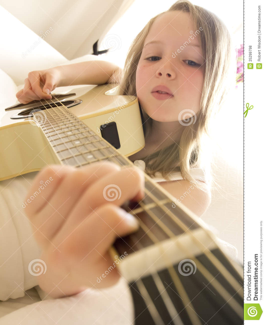 Girl Acoustic Guitars : young girl on a acoustic guitar 5 stock photo image 25299798 ~ Vivirlamusica.com Haus und Dekorationen
