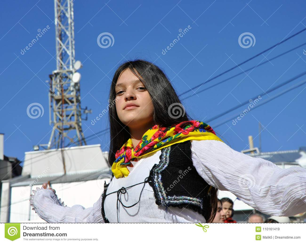 Young girl in albanian traditional costume at a ceremony marking the 10th anniversary of Kosovo`s independence in Dragash