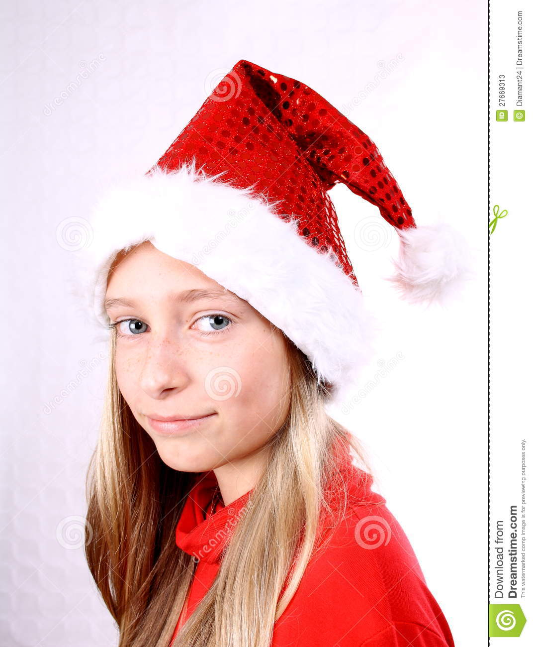 Young Girl As Mrs. Santa Stock Image. Image Of Looking