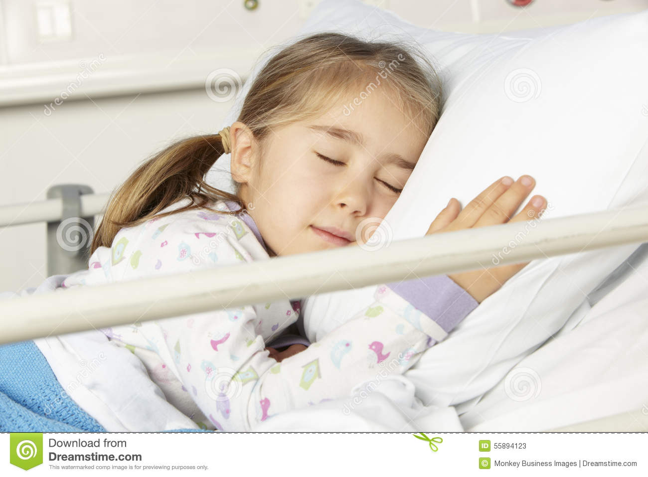 Young Girl Asleep In Hospital Bed Stock Image Image