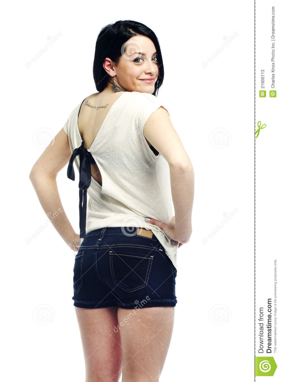 Woman with back turned