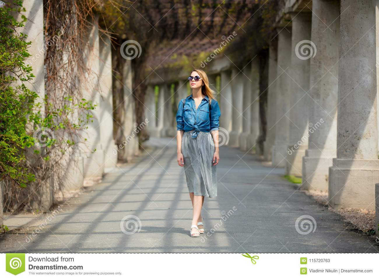 Girl Walking On Alley With Arches And Columns Stock Image ...