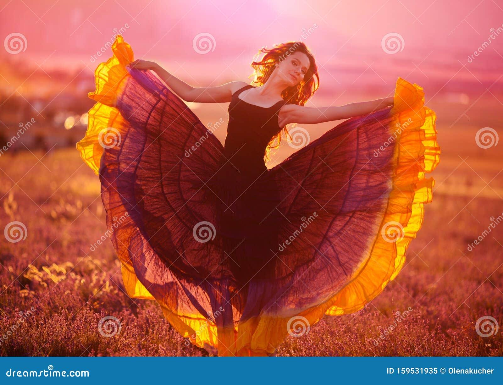 Young girl in a beautiful dress