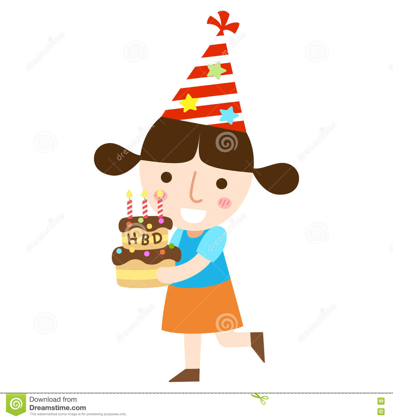 Young Girl With Birthday Cake Vector Stock Vector Illustration of
