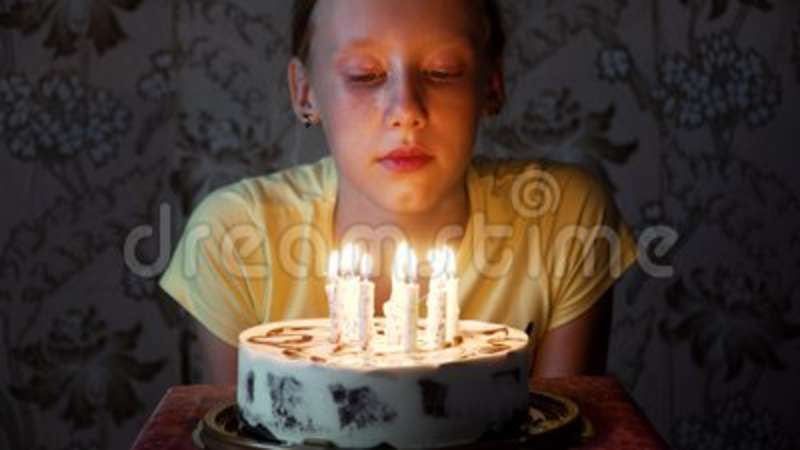 Wondrous Young Girl Blowing Out Birthday Candles Stock Video Video Of Personalised Birthday Cards Vishlily Jamesorg