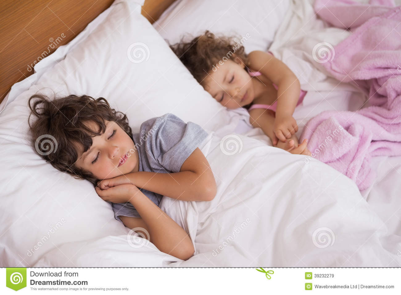 Young girl and boy sleeping in bed stock image image for Boys and girls in bed