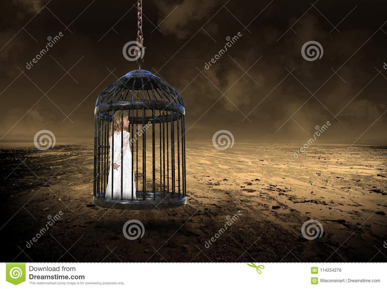 Young Girl, Cage, Love, Hope, Peace
