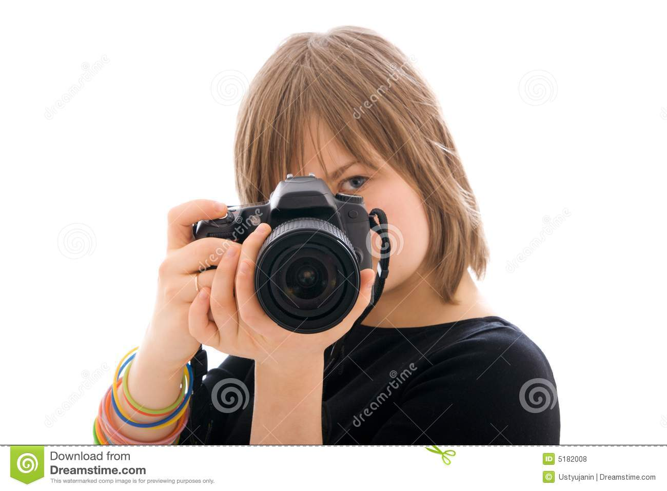 the young girl with the camera isolated royalty free stock