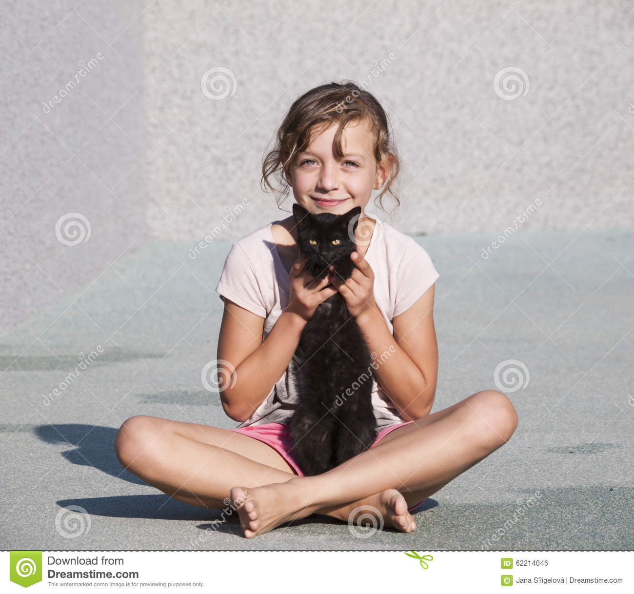 Jana Only Sweet Girls: Young Girl Caress With Kitten Stock Photo