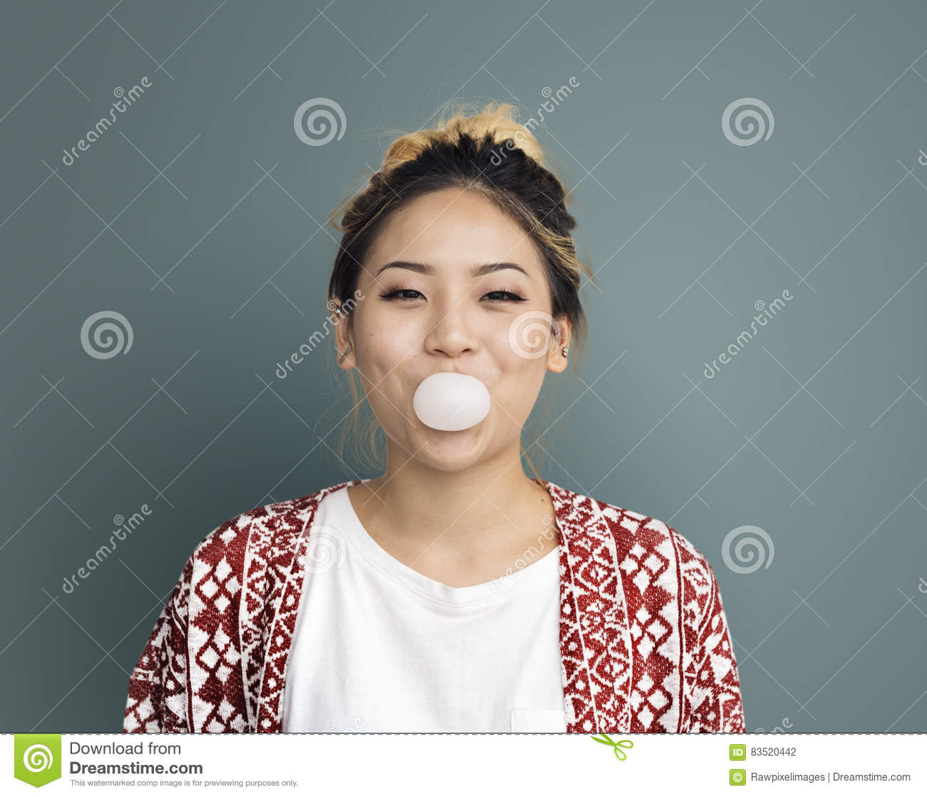 Download Young Girl Chewing Bubble Gum Concept Stock Photo - Image of bubble, glamour: 83520442