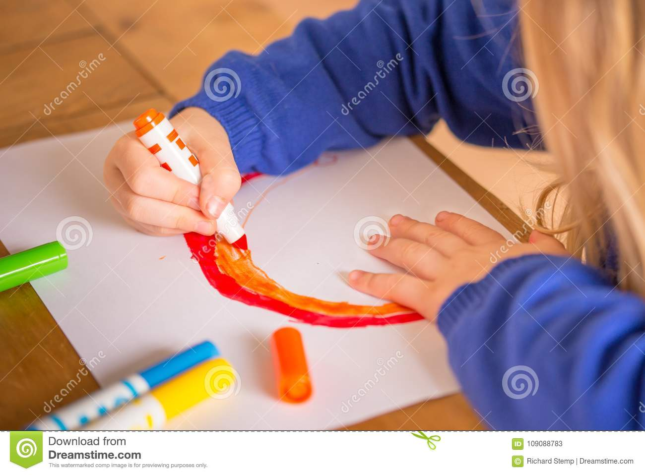 Young Child Coloring In Rainbow Stock Image - Image of child, draw ...