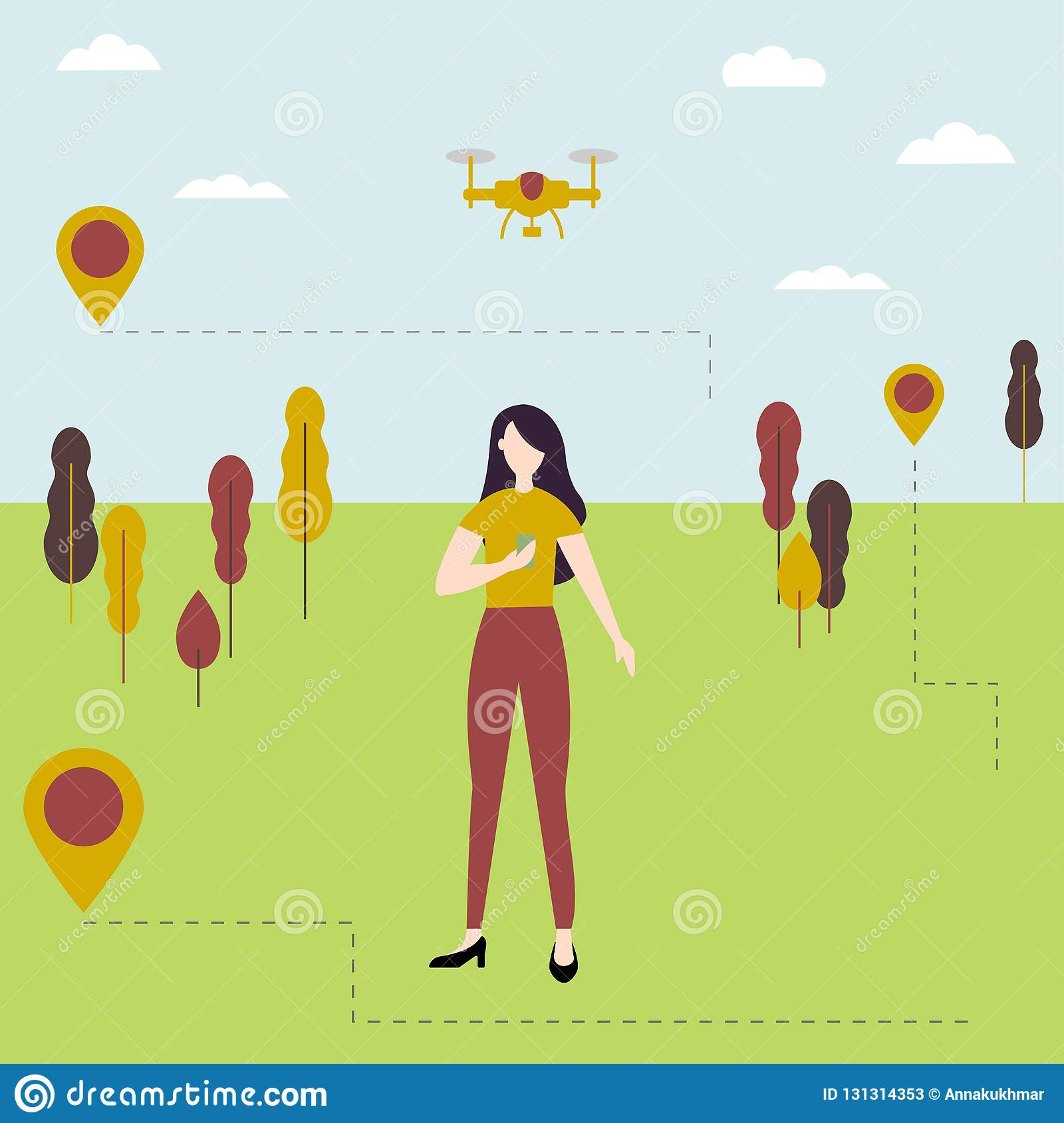 Young girl controls the drone outdoors