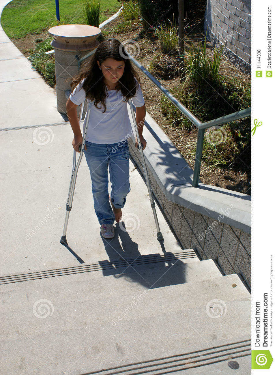 Amputee girl up stairs with one crutch - 5 1