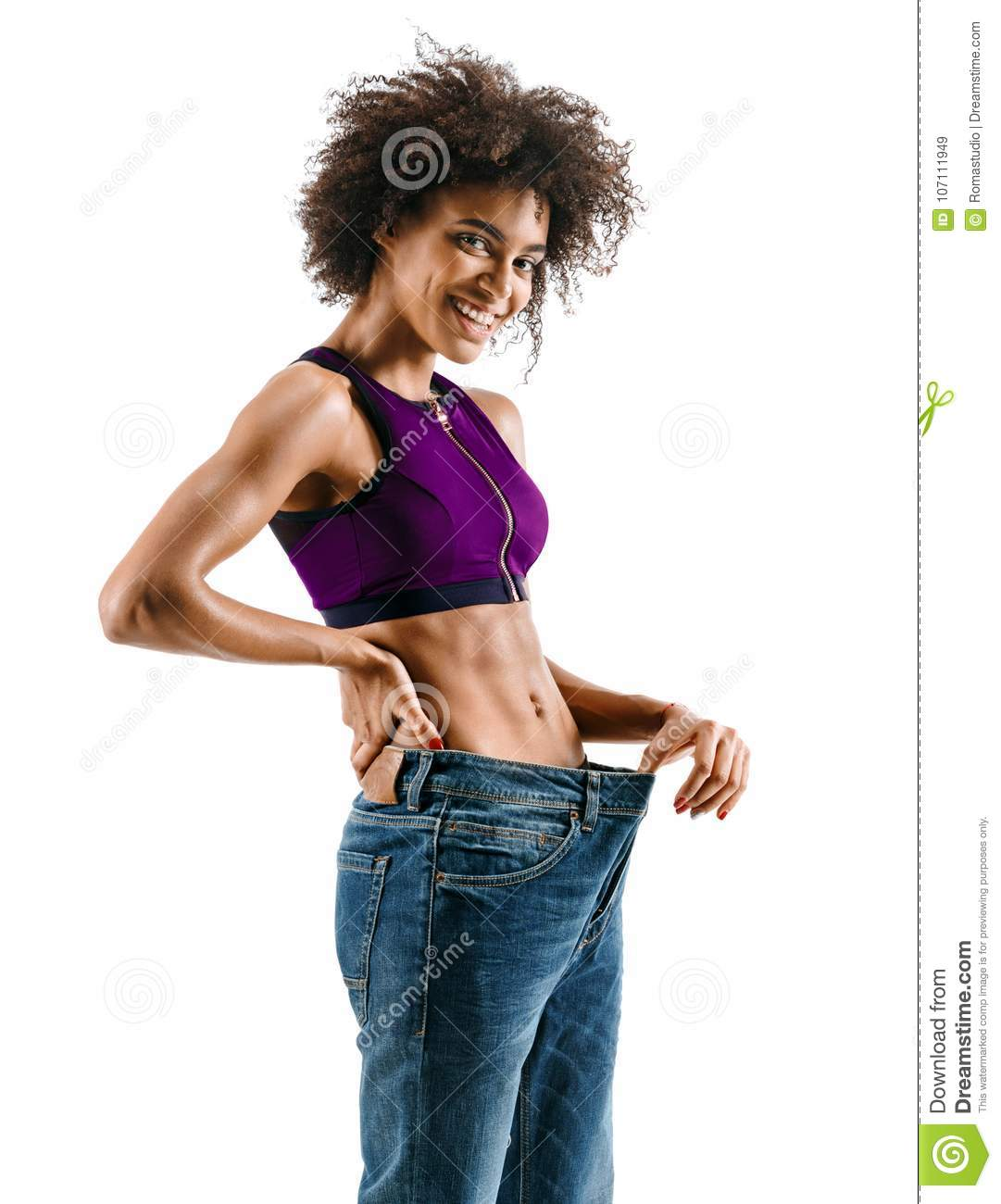 Young girl delighted with her dieting results