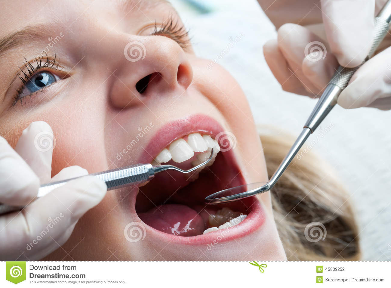 Young Girl At Dentist Stock Photo Image Of Child