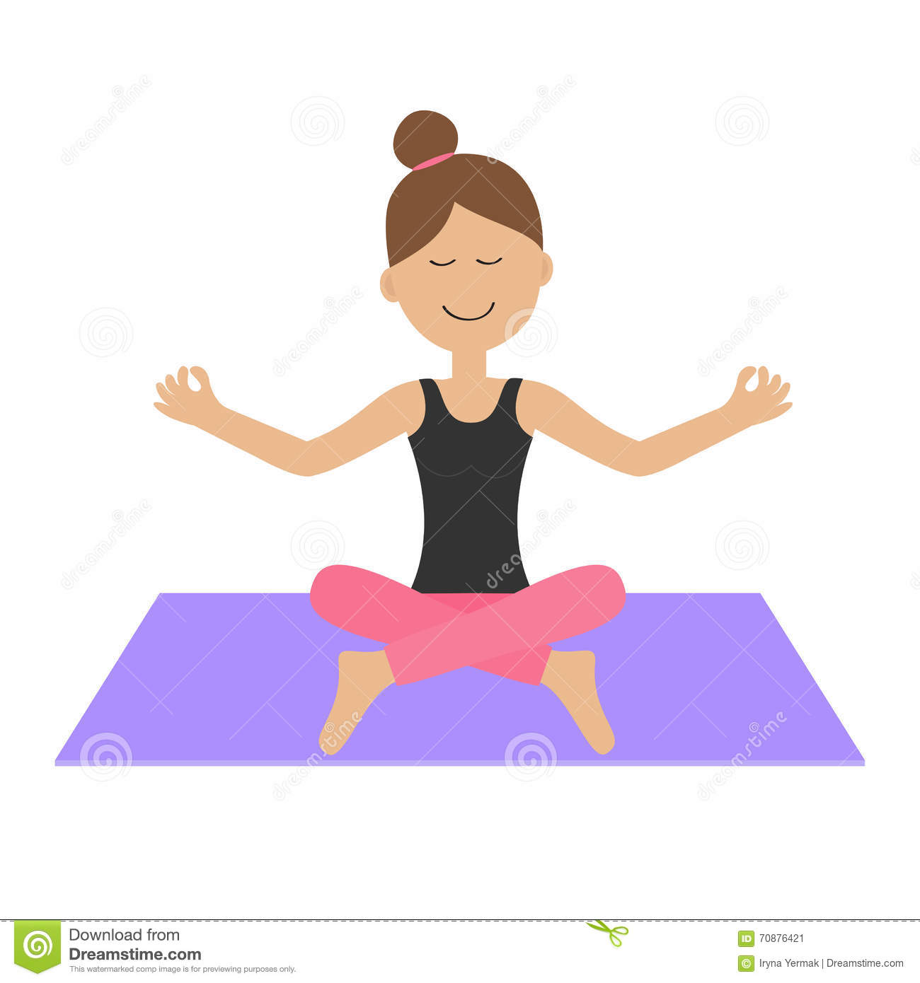 Cute Cartoon Yoga Girl Royalty-Free Stock Photo -6337